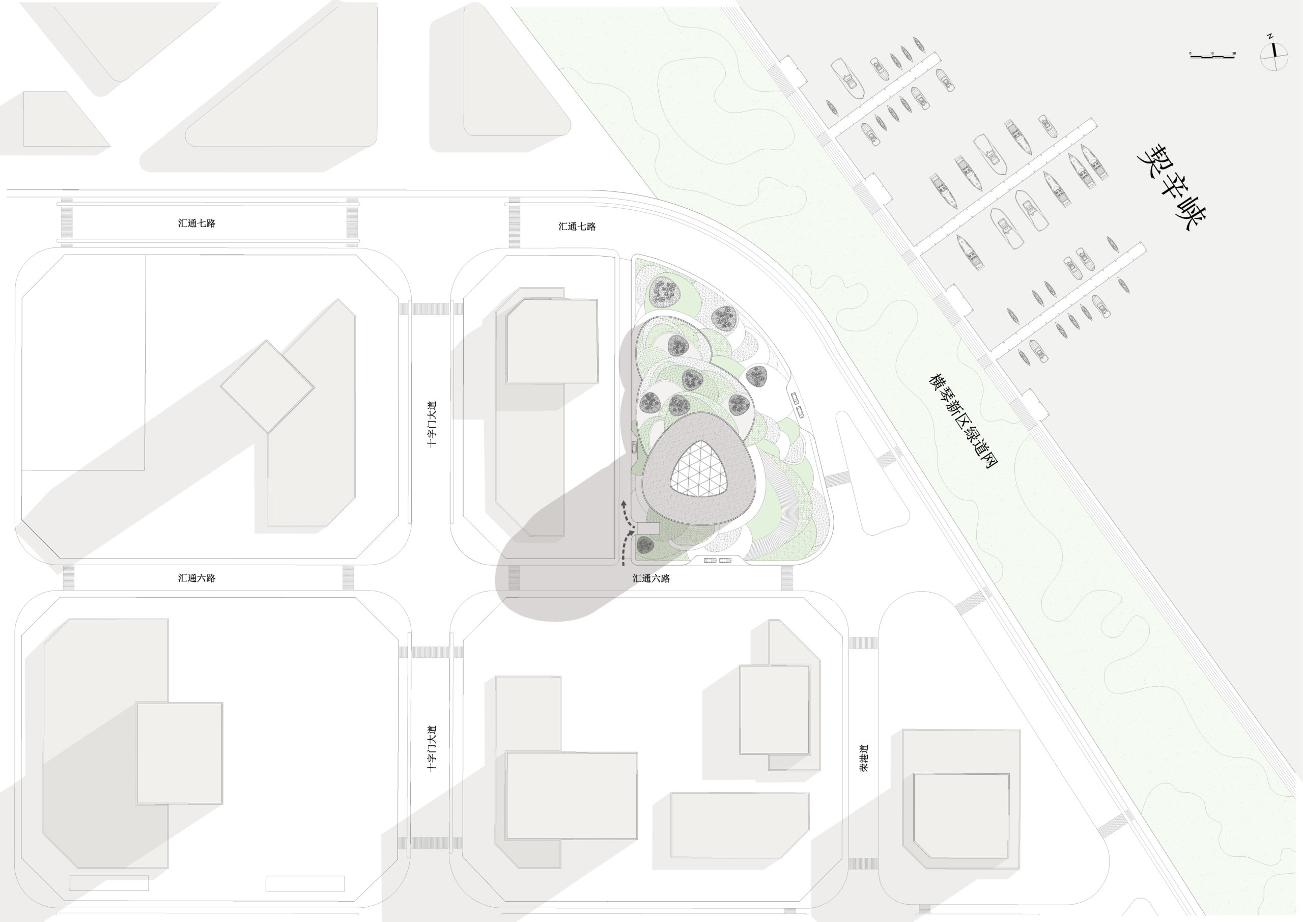 spatial practice architecture office Los Angeles Hong Kong Hengqin exchange square mixused tower zhuhai china site plan