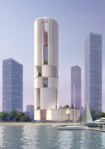 spatial practice architecture office Los Angeles Hong Kong Hengqin exchange square mixused tower zhuhai china view from sea