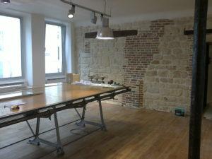 spatial practice architecture office Los Angeles Hong Kong La Squadra Showroom paris france atelier renovation wall bricks
