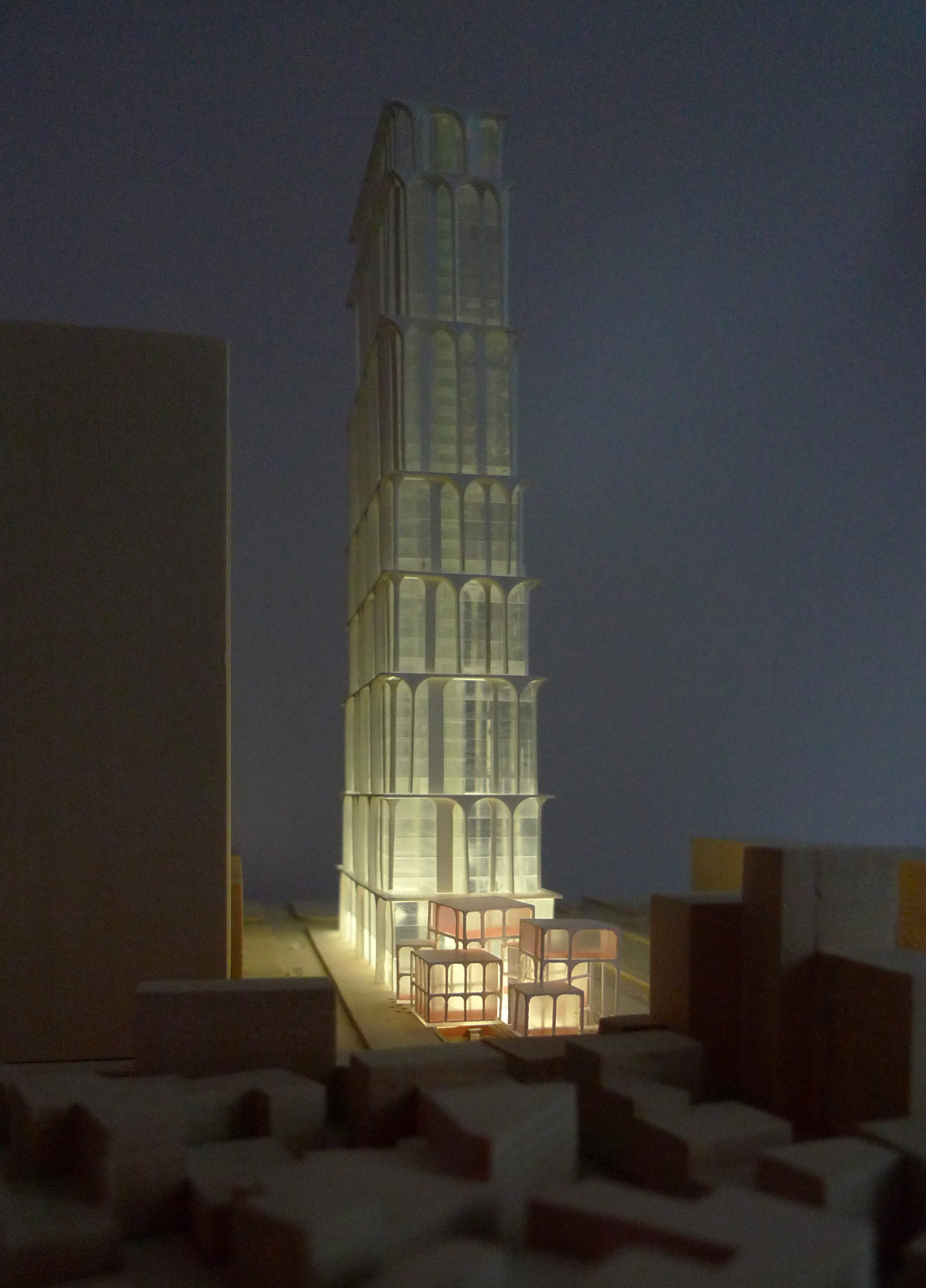 spatial practice architecture office Los Angeles Hong Kong arcade residential tower kaohsiung taiwan model retail night