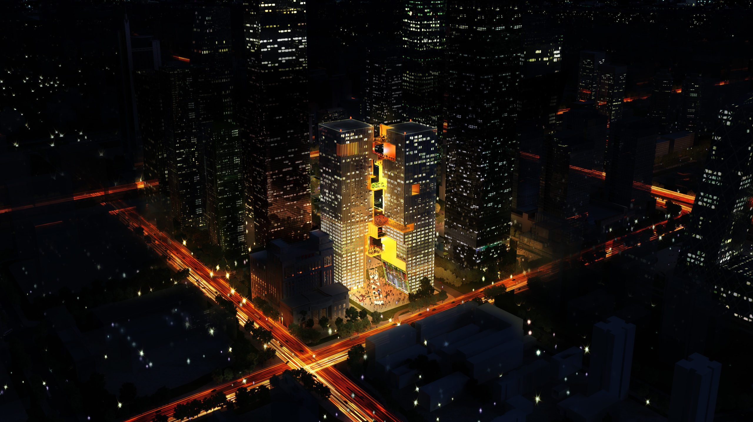spatial practice architecture office Los Angeles Hong Kong ecospine twin towers cbd beijing china city night view