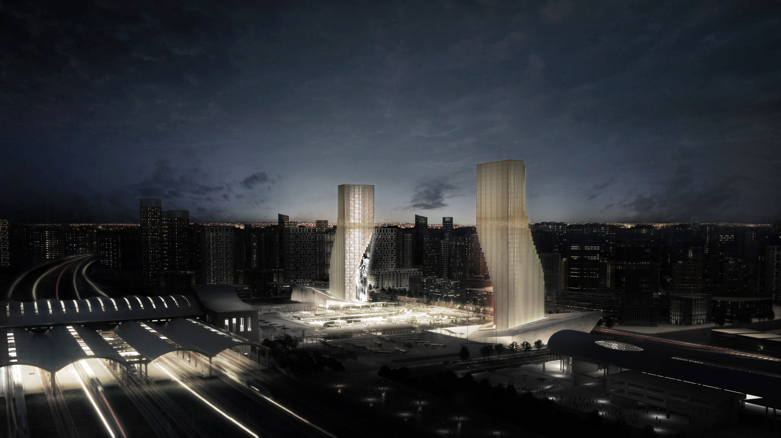 spatial practice architecture office Los Angeles Hong Kong harbin twin towers harbin china night view