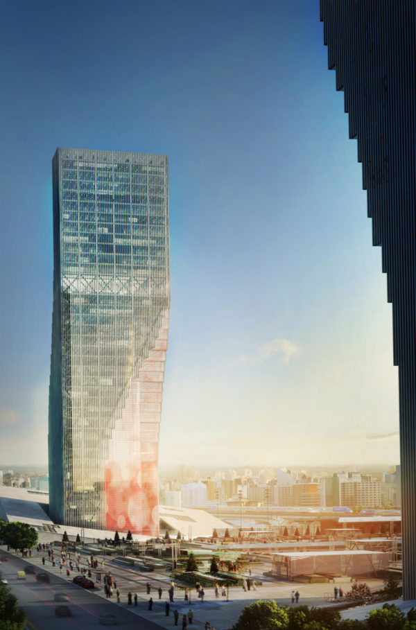 spatial practice architecture office Los Angeles Hong Kong harbin twin towers harbin china sunset plaza side view