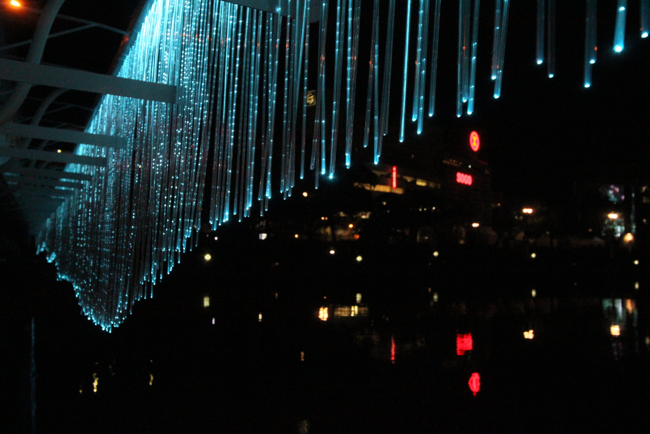 spatial practice architecture office Los Angeles Hong Kong indigo digital waterfall light installation tokushima japan city sparks
