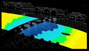 spatial practice architecture office Los Angeles Hong Kong indigo digital waterfall light installation tokushima japan concept hand sketch