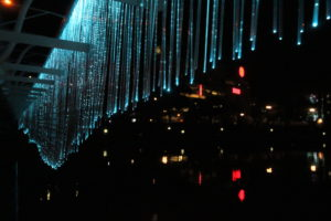 spatial practice architecture office Los Angeles Hong Kong indigo digtal waterfall video fiber optic detail