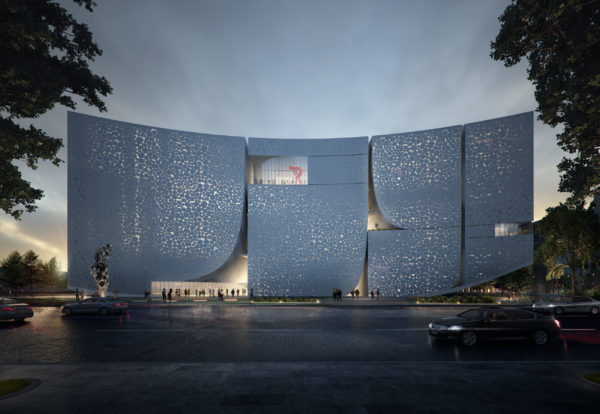 spatial practice architecture office Los Angeles hong kong museum contemporary art baoan china main entry facade