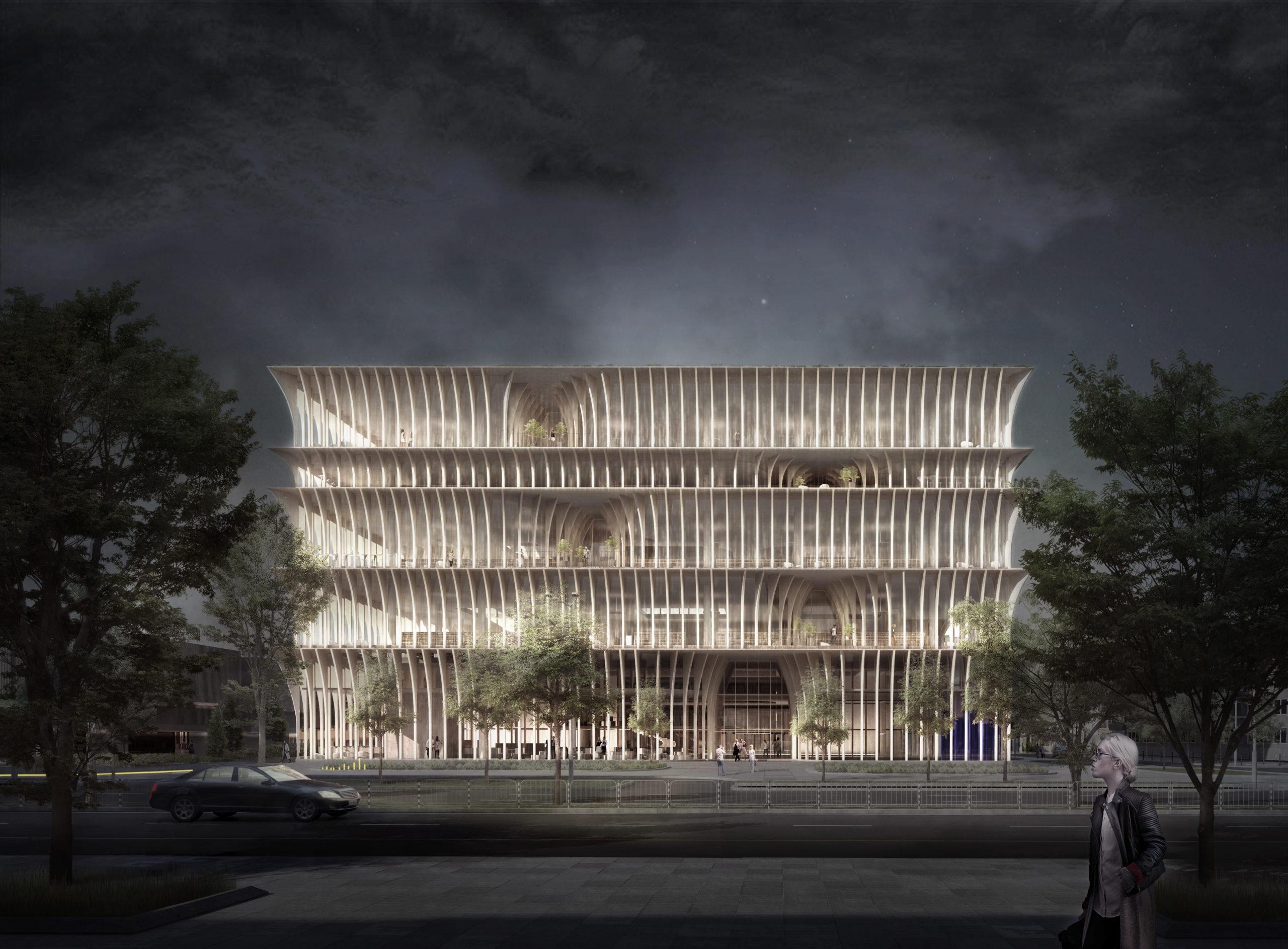 spatial practice architecture office Los Angeles Hong Kong varna public library varna bulgaria main entry night render