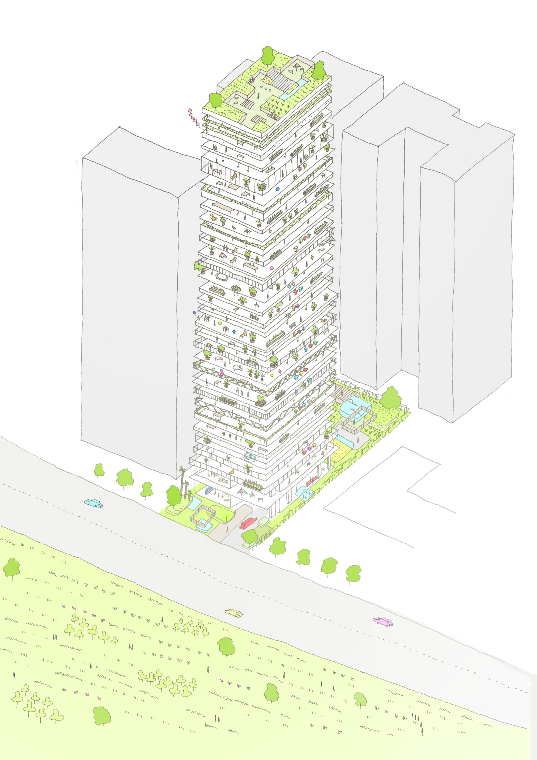 spatial practice architecture office Los Angeles Hong Kong one more residential tower Kaohsiung taiwan concept green living