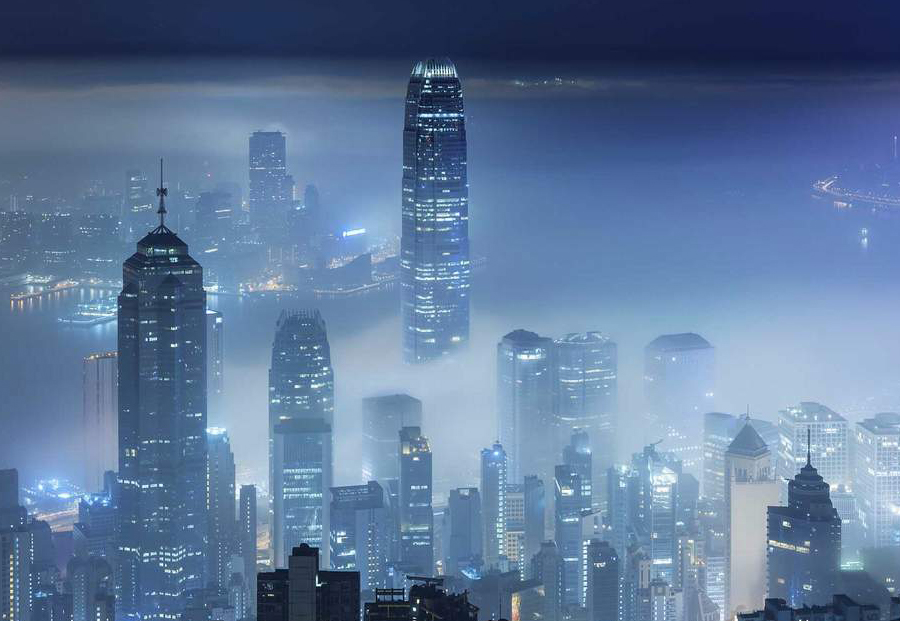 practice architecture office Los Angeles Hong Kong city night view fog